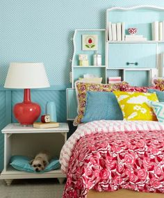 Look at the dresser drawers used for a headboard!  :)    DIY projects give boring, bland or beat-up furniture updated style.