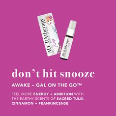 Get Awake. $20.00. Spray on the go. Main Ingredients: Sacred Tulsi, Cinnamon & Frankincense. Aromatherapy for energy and independence. #adoratherapy #aromatherapy#essentialoils #chakraboost#moodboost #organicproducts#natural #beauty #wellness 1 Repin