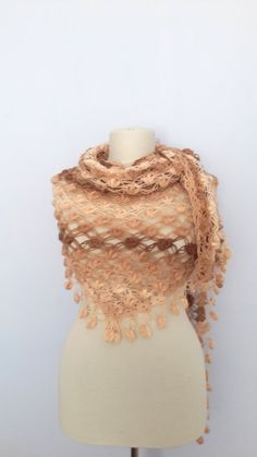 Mother's Day Gifts DISCOUNT  Brown crochet shawl by modelknitting