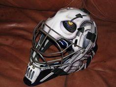 Hockey's Most Badass Goalie Masks Goalie Pads, Goalie Gear, Hockey Helmet, Hockey Goalie, Ice Hockey, Football Helmets, Helmet Design, Mask Design, Nhl