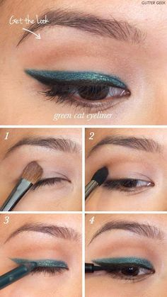 Winged Eyeliner Tutorials - Emerald Green Cat Eyeliner- Easy Step By Step Tutorials For Beginners and Hacks Using Tape and a Spoon, Liquid Liner, Thing Pencil Tricks and Awesome Guides for Hooded Eyes - Short Video Tutorial for Perfect Simple Dramatic Looks - thegoddess.com/winged-eyeliner-tutorials