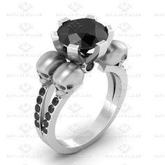 Show details for 'Septembre' 2.42ct Black Moissanite Skull Sterling Silver Ring