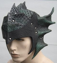 Gothic Dragon Scale Leather armor Helmet. $274.99, via Etsy.