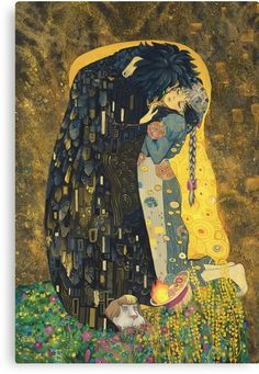 'The Kiss: Like Starlight' Poster by chubbyunicorn - Parody of Klimt's 'The Kiss'. One of my favorite paintings, one of my favorite couples. I hope you enjoy it as much as I did making it :) Art Studio Ghibli, Studio Ghibli Movies, Anime Kunst, Art Anime, Art And Illustration, Howl Et Sophie, Hayao Miyazaki, Poster Art, Wind Waker