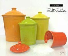 Using Fiesta Jam Jar as a salt cellar. Jam Jar, Ball Jars, Homer Laughlin, Covered Boxes, Cellar, Canisters, Grease, Dinnerware, Bacon