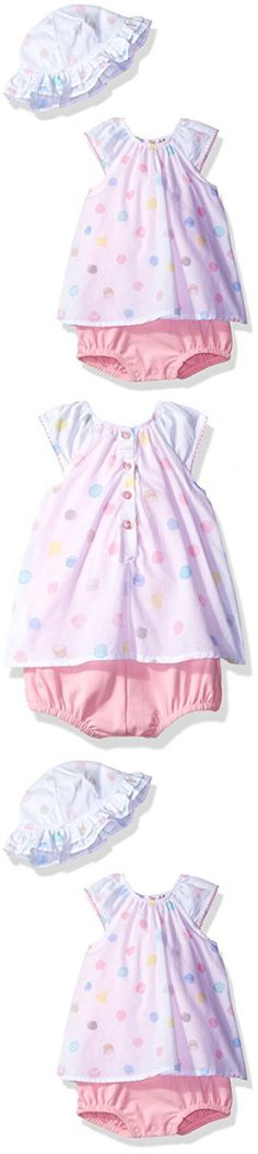 ABSORBA Baby Girls' Romper Sets, White/Pink, 3/6