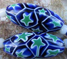 Art Deco Venetian Matched Moretti Star Millefiori Glass Beads Dropper Necklace