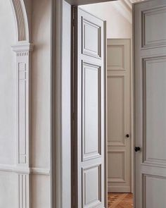 Meg Cassidy (@meglcassidy) • Instagram photos and videos Double Doors Interior, Interior And Exterior, Interior Design, Chloe, Art Deco Door, French Walls, Wall Molding, Moulding, Wood Detail