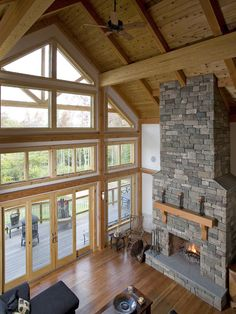Lower windows Traditional Living Room Cathedral Ceiling Design, Pictures, Remodel, Decor and Ideas - page 22 Cathedral Windows, Cathedral Ceilings, Cabin Style Homes, Glass Barn Doors, Cottage Living Rooms, Luxury Cabin, Pole Barn Homes, Luxury Rooms, Modern Farmhouse Exterior