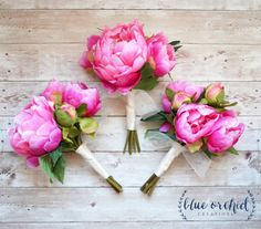 This listing is for ONE hot pink peony bouquet. You can add as many as you need to your cart. It is the perfect size for a petite bridesmaid bouquet. The silk peonies are a beautiful, vibrant shade of bright pink, and will match perfectly with many of the bridal bouquets in our