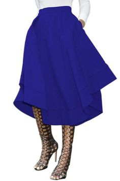 Dokotoo Womens Plus Size Ladies Casual Elegant High Waist Cotton Office A Line Pleated Full Midi Skirt Dresses Blue XX-Large Skater Skirt Dress, Full Midi Skirt, Skirt Pleated, Full Skirts, Women's Skirts, Flared Skirt, Weekly Outfits, Curvy Outfits, Royal Blue Outfits
