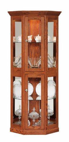 Amish Small Corner Curio Cabinet