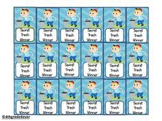 Freebie : Secret Trash Game Brag Tag by Thank a Teacher Behavior Rewards, Behavior Management, Classroom Management, Love My Job, Dog Love, First Grade, Second Grade, School Stuff, Back To School