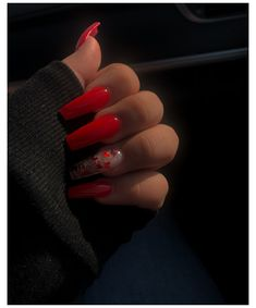 Acrylic Nail Designs Coffin, Long Square Acrylic Nails, Clear Acrylic Nails, Bling Acrylic Nails, Acrylic Nails Coffin Short, Simple Acrylic Nails, Summer Acrylic Nails, Red Nail Designs, Coffin Nails