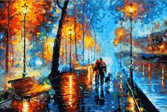 Frameless DIY Abstract landscape Night walk painting by numbers