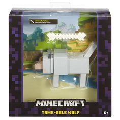 Keep building the fun from the video game with this large-scale Minecraft figure. This Wolf with Bone figure features moves unique to its classic character. In the game, the hungry Wolf can be Minecraft Creations, Minecraft Crafts, Minecraft Party, Minecraft Wolf, Minecraft Wither, Minecraft Merchandise, Minecraft Bedroom Decor, Cool Bedrooms For Boys, Wolf Colors