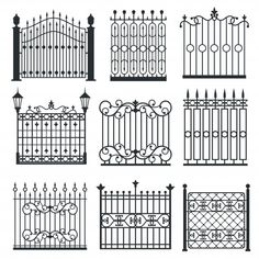 Iron Gate Fence Design Different Decorative Stock Vector (Royalty Free) 705560707 Grill Gate Design, Main Gate Design, Window Grill Design, House Gate Design, Fence Design, Garden Design, Wrought Iron Gate Designs, Wrought Iron Gates, Gate Images