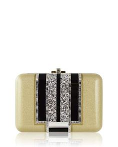 L0Q4D Judith Leiber Couture Slim Slide Crystal Evening Clutch Bag, Gold/Multi