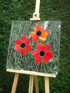 Poppies | Mosaic garden mirror (62 x 62cm / 2' x 2'). Design… | Flickr