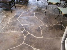 Stamped Concrete Overlay - Hand Carved Flagstone Patio
