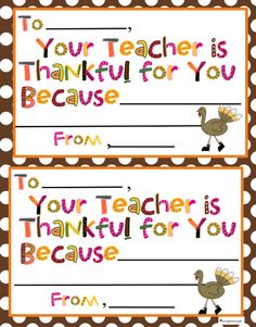 "Erica Bohrer's First Grade: Thanksgiving Free ""Your Teacher is Thankful For You..."" and Walnut Turkey Craft"
