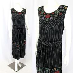 """Vintage 1920s All-Over Beaded Dress Art Deco Floral & Lattice Motif 36"""" Bust  http://stores.ebay.com/mmmosts-Old-time-Stuff-and-Threads"""