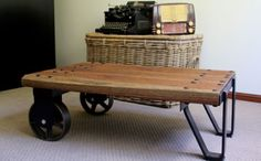 Recycled timber coffee table based on vintage factory cart