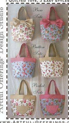 Triple Treat Tote Pattern by Artful Offerings ~ Karina Hittle +It's+a+triple+treat! +Directions+include+designs+for+a+bow+tote,+a+button+tote,+and+a+pocket+tote. Tote Bags Handmade, Diy Tote Bag, Diy Bags, Tote Purse, Tote Pattern, Purse Patterns, Patchwork Bags, Quilted Bag, Fabric Bags