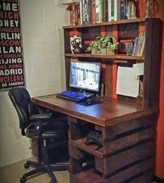 escritorio de palet todo en uno