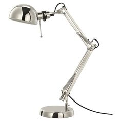 Lampara flexo NYFORS Worklight Lampe - weiß vernickelt - IKEA Kitchen installation: things to consid Ikea Alex, Ikea Desk Lamp, Table Lamp, Ikea Forsa, Ikea Kitchen Installation, Brusali, Design Ikea, Clear Light Bulbs, Ideas