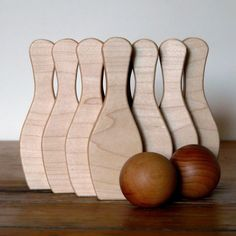 Wooden Toy Skittles Bowling Game, Personalized 10 Pin And 2 Ball