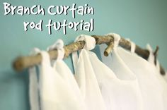 DIY curtain rods made from branches