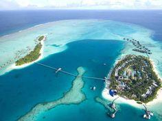 best overwater bungalow resorts maldives conrad rangali aerial
