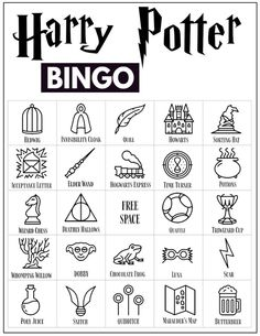 30 Harry Potter themed bingo cards for a Harry Potter themed party or classroom activity. Harry Potter Banner, Harry Potter Party Games, Harry Potter Printables, Theme Harry Potter, Harry Potter Food, Harry Potter Spells, Harry Potter Halloween, Harry Potter Birthday, Theme Animation