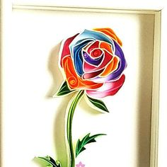 Single Colourful Paper Rose, Quilled Paper Art. Framed Rainbow Coloured Rose Art.