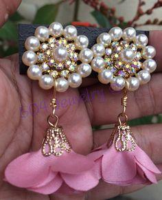 Thread Jewellery, Fabric Jewelry, Clay Jewelry, Pearl Jewelry, Jewelery, Beaded Earrings, Earrings Handmade, Beaded Jewelry, Handmade Jewelry