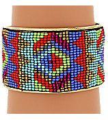 Amazing Vibrant Aztec Seed Bead Cuff Bracelet by GothicCowgirlz