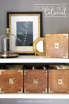 Learn how to make these DIY Campaign Style Storage Boxes!