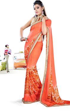 Picture of Luscious Orange Printed Saree