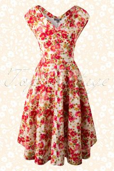 Emily and Fin - 40s Violet Watercolour Floral Dress in Red