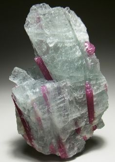 Tourmaline crystals in Aquamarine - Brazil Natural Crystals, Stones And Crystals, Gem Stones, Minerals And Gemstones, Rocks And Minerals, Beautiful Rocks, Mineral Stone, Rocks And Gems, Creations