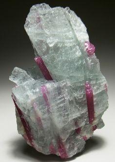 Tourmaline crystals in Aquamarine