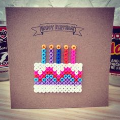 Happy Birthday hama perler bead card by Make & The Craft Kitchen, link doesn't work Hama Beads Design, Diy Perler Beads, Hama Beads Patterns, Perler Bead Art, Pearler Beads, Fuse Beads, Beading Patterns, Embroidery Patterns, Art Patterns