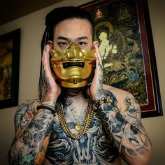 """1,174 Likes, 13 Comments - Winson Tsai (@wt_tattoo) on Instagram: """"Received this Dope Custom Gold & Black Menpo Mask courtesy of @devtac from Japan. Can't wait to…"""""""