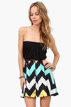 I would so wear this! Black, coral, and blue dress.