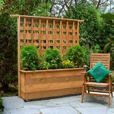 How to Build a Privacy Planter. Would be nice on casters to move around for events