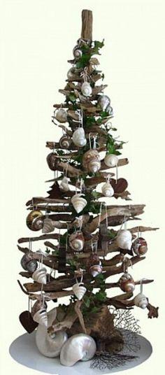 Driftwood and seashell tree