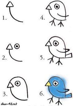 Como desenhar um passarinho - Passo a passo
