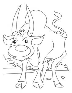 Ox Searching For Corn Flakes Coloring Pages