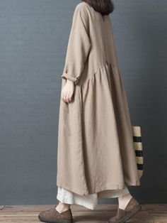 Fashion Loose Linen Maxi Dresses Women Fall Outfits - Women's style: Patterns of sustainability Muslim Fashion, Modest Fashion, Hijab Fashion, Fashion Outfits, Dress Fashion, Modest Dresses, Modest Outfits, Fall Outfits, Maxi Dresses